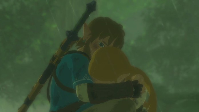 Link holds a distraught Zelda in his arms