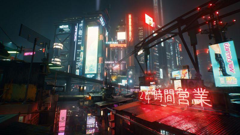 Una vista dall'alto della città notturna in Cyberpunk 2077