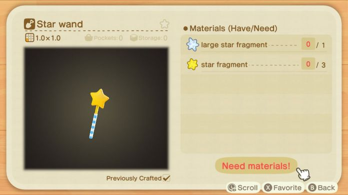 A recipe list for a Star Wand