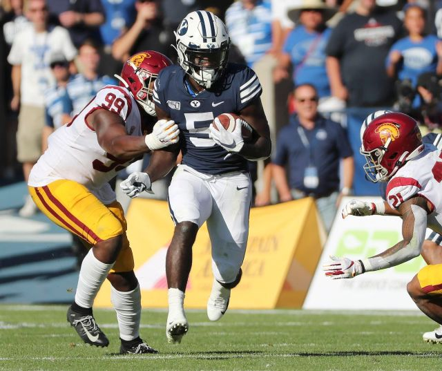 Brigham Young Cougars running back Ty'Son Williams (5) runs against USC Trojans in Provo on Saturday, Sept. 14, 2019. BYU won 30-27 in overtime.