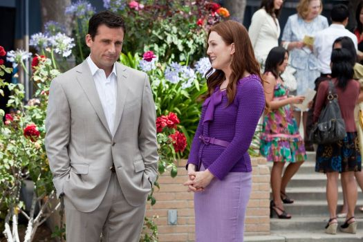 Steve Carell and Julianne Moore talk in front of some flowers