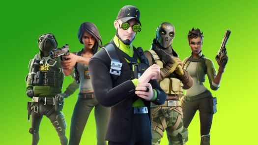 several characters from Fortnite season 3 stand against a green background facing the camera