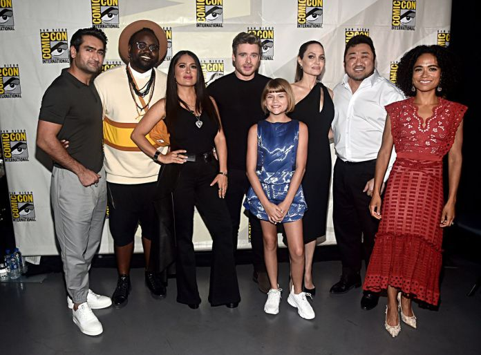 angelina jolie and the cast of eternals at comic-con 2019