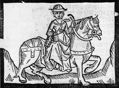 """Chaucer's Wife of Bath says: """"In wine-filled women is no resistance / and lechers know this by experience."""" Woodcut from a 1492 edition of the book."""