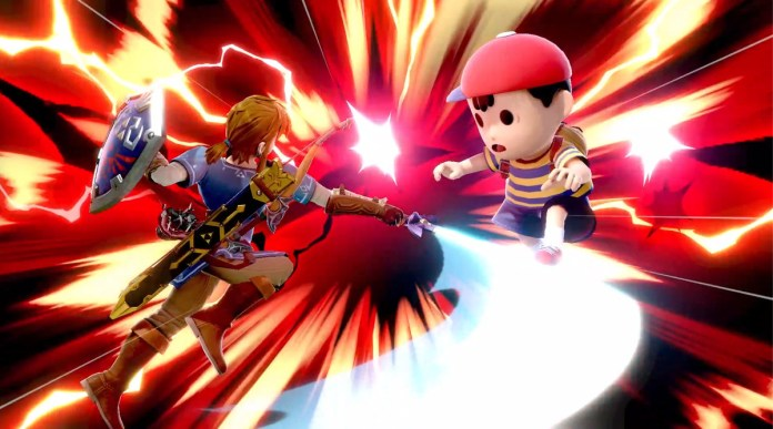 Link fighting Ness in Super Smash Bros. Ultimate