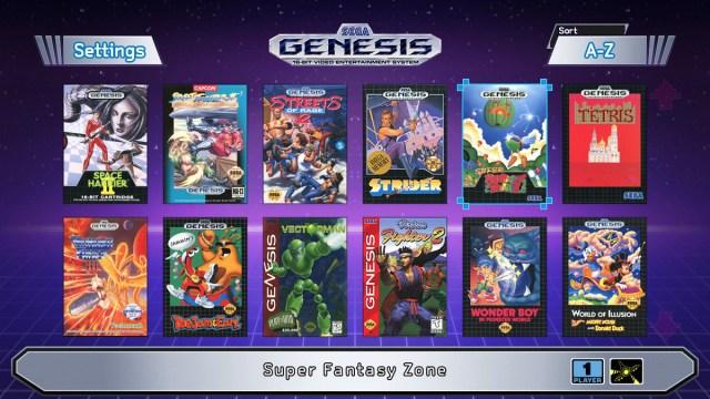 Sega Genesis Mini games list viewed in U.S. region