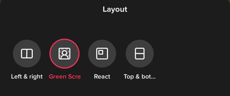 Un menu di layout in TikTok che mostra le opzioni di duetto etichettate a sinistra e destra, schermo verde, reazione e in alto e in basso.