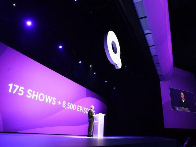 Quibi founder Jeffrey Katzenberg onstage.