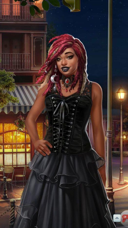 ava wears a dark homecoming dress