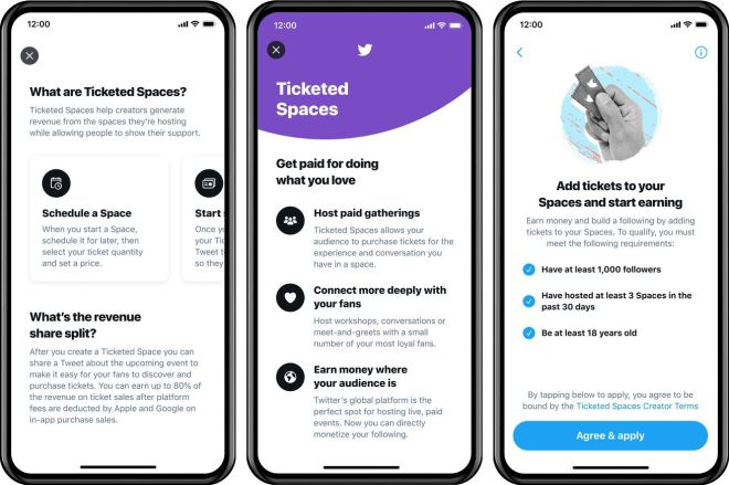 twittermonetization.0 Twitter previews Ticketed Spaces, says it'll take a 20 percent cut of sales   The Verge