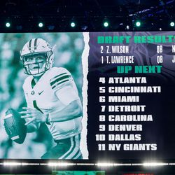 A video board displays a photo of Zach Wilson after the BYU quarterback was picked up by the New York Jets with the second pick in the 2021 NFL Draft on Thursday, April 29, 2021 in Cleveland, Ohio.