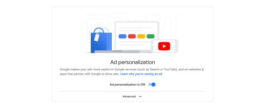 "A screenshot of the ""ad personalization"" toggle in the ""on"" position."