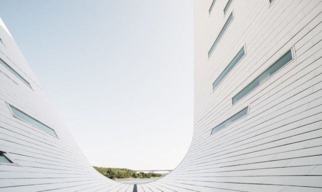 Facade of wave shaped building