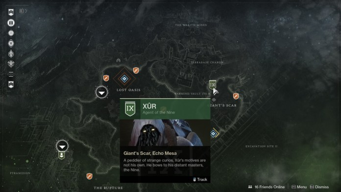 a screenshot of Destiny 2's map showing Xur hanging out north of Giant's Scar on Io