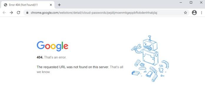 A Google 404 page