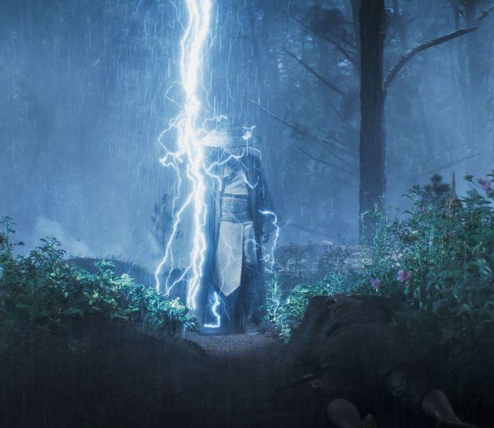 Raiden uses lightning in a still from Mortal Kombat (2021)