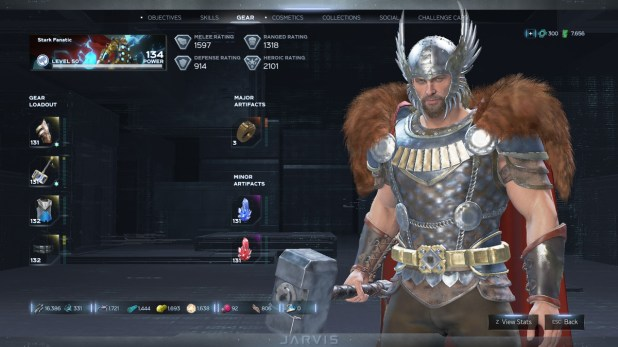 Screenshot of Thor and his gear in Marvel Avengers