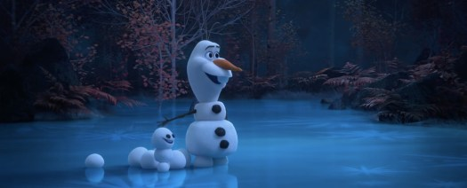 olaf playing with snow