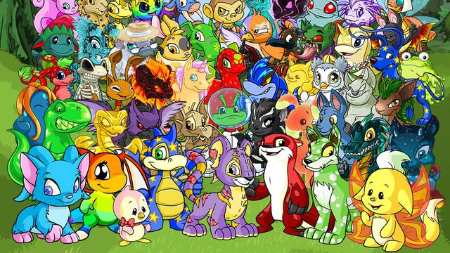 a group of different neopets