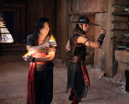 LUDI LIN as Liu Kang and MAX HUANG as Kung Lao in Mortal Kombat (2021)