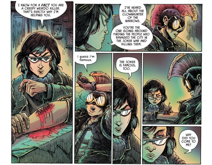 """Leslie Tompkins stitches up Clownhunter in her clinic, saying that she's heard all about how he's going around killing people who """"ravaged the city"""" during Joker War. """"i guess i'm famous,"""" he responds. """"The Joker is famous, too."""" she replies, shutting him up, in Batman Annual #5, DC Comics (2020)."""