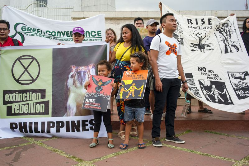 Environmentalists gather on climate issues in Quezon city, Philippines, on March 15, 2019.