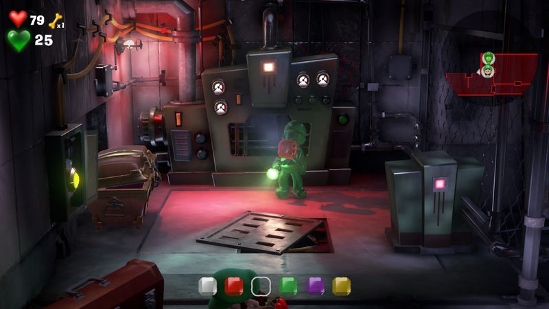 Luigi s Mansion 3 B1 Garage  red gem  4 - Luigi's Mansion 3 - Guida: come trovare tutte le gemme dei piani B2 e B1
