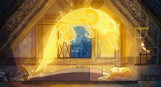 A wolf-spirit made of fine, glowing golden lines hovers over the body of a sleeping girl in Wolfwalkers