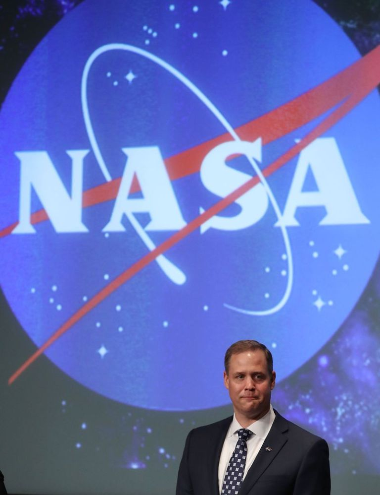 Jim Bridenstine speaks after he was sworn in as NASA's new administrator. He has made privatizing the International Space Station a goal.