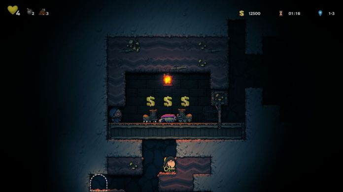 In Spelunky 2, our hero holds a magical key while looking for a secret passage.