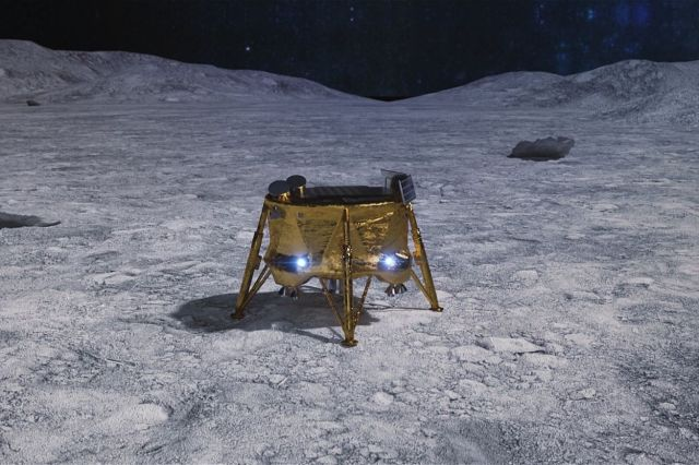 <em>An artistic rendering of what Beresheet would have looked liked on the Moon if its mission had been successful.</em>