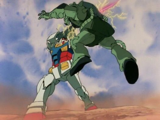 The RX-78 Gundam piercing the armor of a Zaku mobile suit using its beam saber.