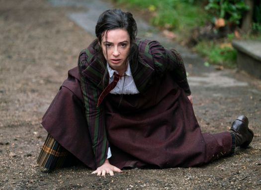 Laura Donnelly in a superhero crouch in The Nevers