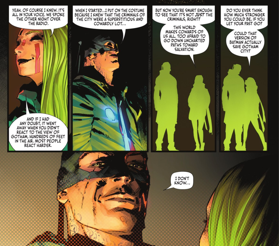 Miracle Molly of the Unsanity Collective asks a disguised Batman if he's ever considered how much stronger he'd be as the Dark Knight if he let his past go in Batman #108, DC Comics (2021).