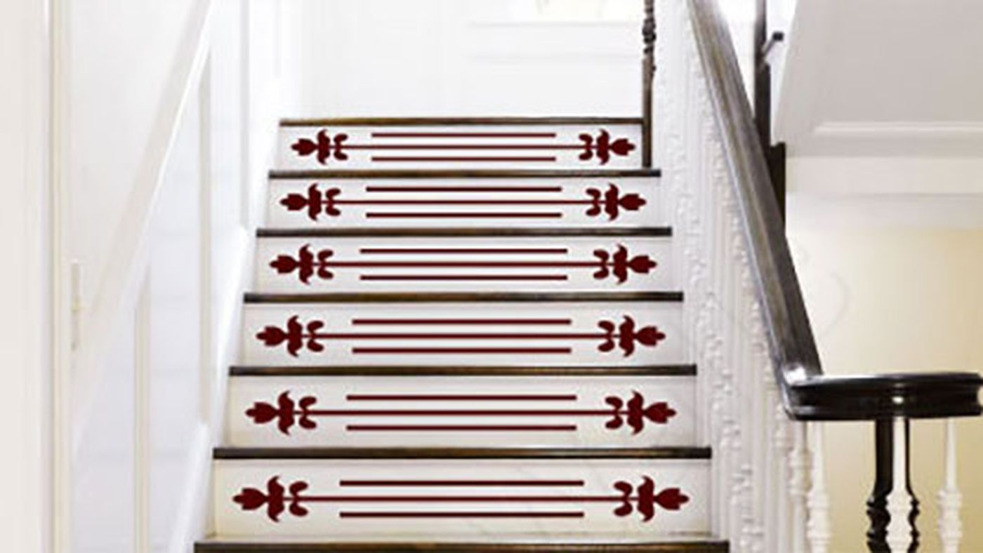 Dress Up Stair Risers With Vinyl Decals This Old House   Stick On Stair Runners   Steel Gray   Bullnose Carpet   Stair Riser   Area Rugs   Non Skid Carpet