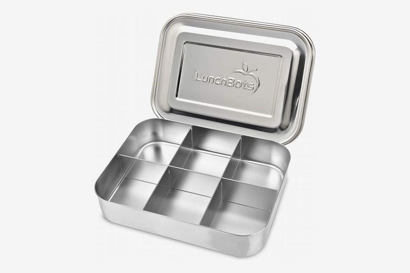 A stainless steel lunch container