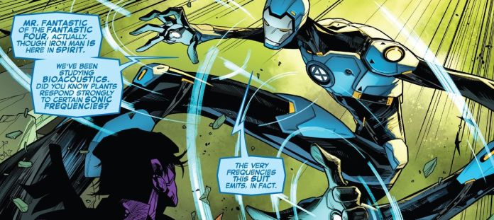 Mr. Fantastic battles Quoi, wearing a stretchy Iron Man suit in Empyre #6, Marvel Comics (2020).