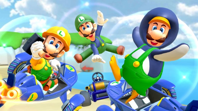 Builder Luigi (left), Classic Luigi (middle), and Penguin Luigi (right)