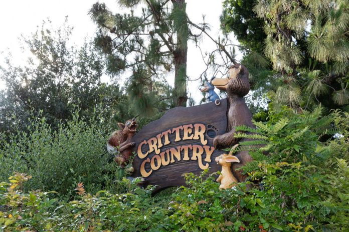 """The sign for the entrance to """"Critter Country,"""" Disneyland, CA"""