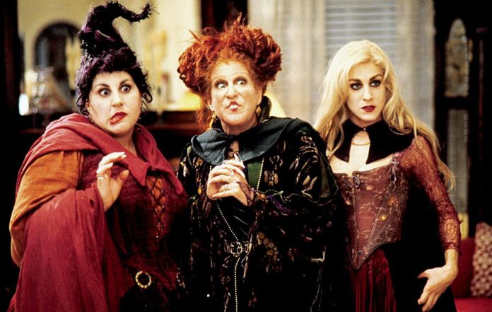 The Sanderson Sisters (Kathy Najimy, Bette Midler, and Sarah Jessica Parker) look confused