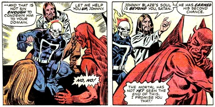 Jesus (or an illusion thereof) tells Satan he has to leave Ghost Rider alone. Marvel Comics