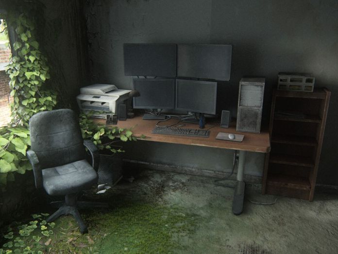 A huge PC gaming workstation in The Last of Us Part 2