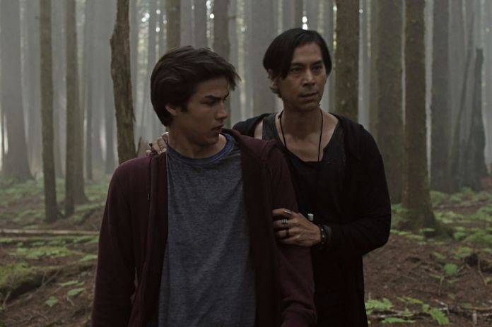 Father and son (Joel Oulette and Kalani Queypo) in Trickster