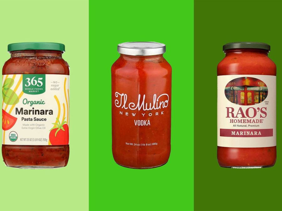 Three jars of tomato sauce on backgrounds in varying shades of green