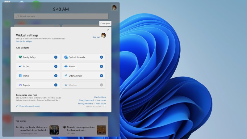 Windows 11 non ha ancora molti widget, ma potrebbe cambiare.