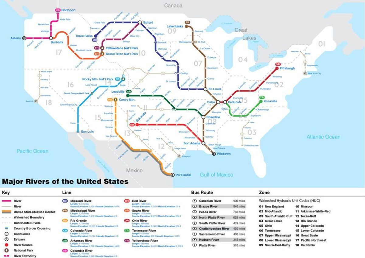 Mapping U S Rivers Like A National Subway System
