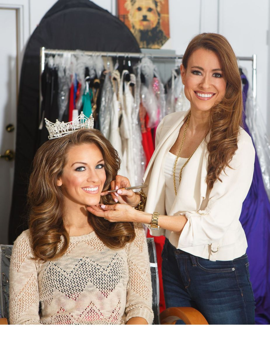 Makeup artist Meredith Boyd poses next to 2016 Miss America Betty Cantrell, who is wearing a tiara.