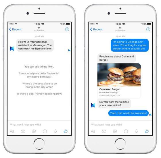 Facebook M virtual assistant