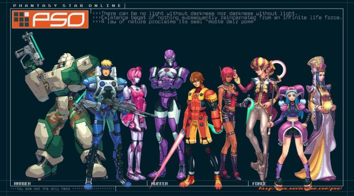 Phantasy Star Online characters stand side-by-side