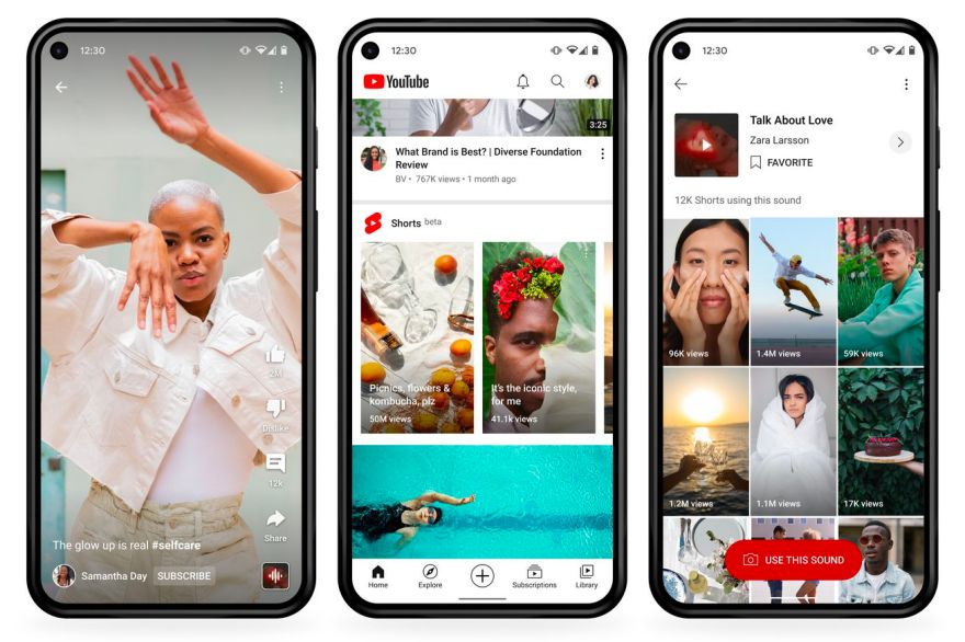Three screenshots showing the interface of YouTube Shorts in beta. One shows a video, another shows a carousel of videos on the YouTube app's main screen, and the third shows a grid of videos using the same sound.